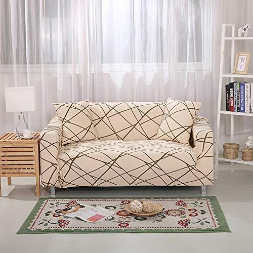 Funda Sofá 90-140 cm con Funda de Cojín de 1 Piezas 45x45 cm (Pack de 2), Poliéster Stretch Cubre Sofá Funda Protector Antideslizante Sofa Couch Cover (La Geometría Beige/1 Asientos)