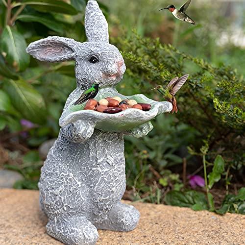 Outdoor Garden Statue Bunny Rabbit Holding Green Leaf  Resin Animals Figurine Ornaments 9 Inch  Outdoor Statues Rabbit for Garden Patio Lawn Yard Decoration  Garden Statue and Sculpture Decor