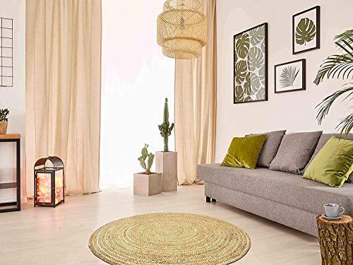 Green Decore Alfombras de yute de fibra natural trenzadas hechas a mano (180 cm de diámetro, color natural pacífico)