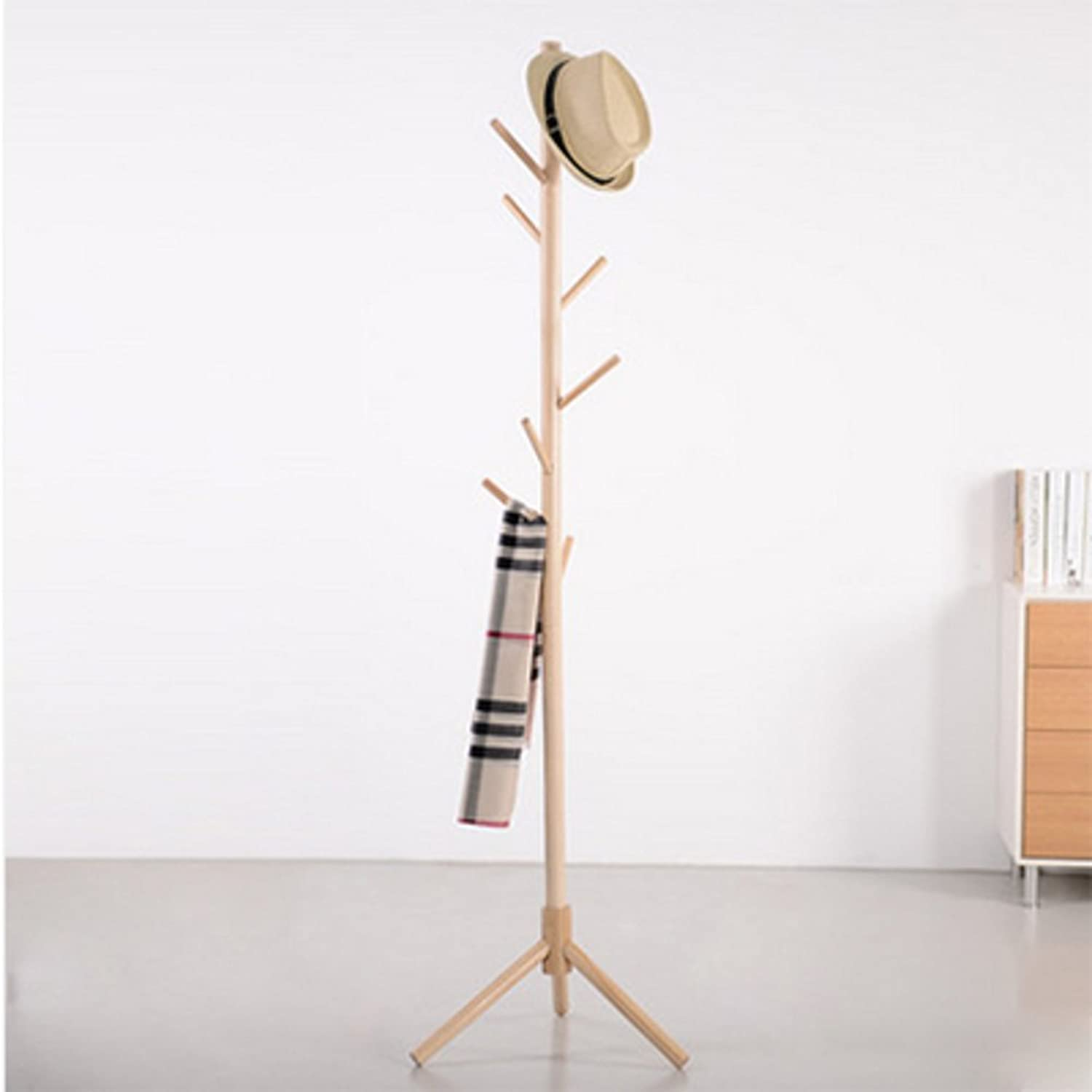 Bamboo Coat Rack,Hall Tree Free Standing,with 8 Side Hook Stand Coat Hanger for Jacket Umbrella Clothes Hats Scarf Handbags-D 40x176cm(16x69inch)