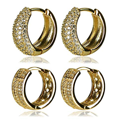 Yumay 9ct Yellow Gold Small Hoop Earrings Made with Cubic Zirconia for Women(2Sets)