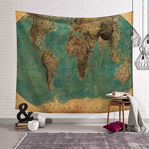 N / A Pintura Mapa del Mundo Tapiz Retro decoración del hogar Viajero Hippie Tapiz Colgante de Pared Toalla de Playa Estera de Yoga Manta de Fondo Tapiz Decorativo A7 130x150cm