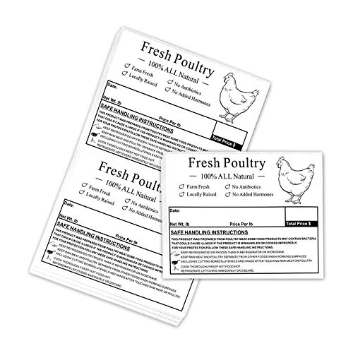 Poultry Freezer Labels,4x3 Inch with Safe Handling Instructions Exemption,50Pcs