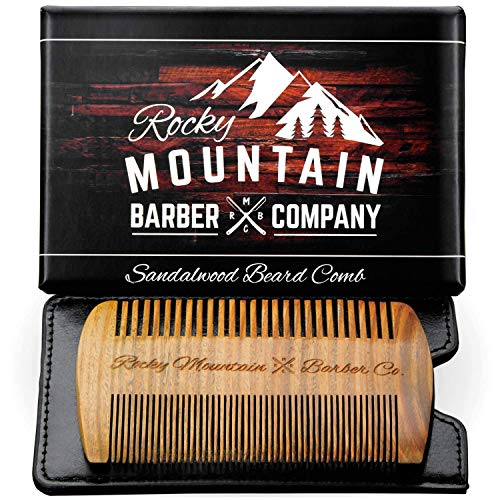 Price comparison product image Beard Comb - Natural Sandal Wood for Hair with Scented Fragrance Smell with Anti-Static & No Snag,  Handmade Fine / Medium Tooth Brush Best for Beard & Moustache Packaged in Premium Giftbox