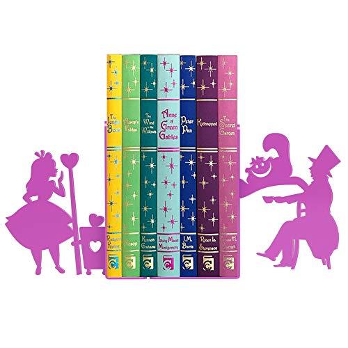 Porta livro Alice, chapeleiro louco e gato suporte aparador cd e dvd Aço