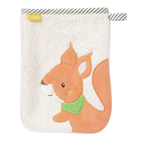 Fehn 061215 Waschhandschuh Eichhörnchen | Waschlappen mit Tiermotiv für fröhlichen Badespaß | Für Babys und Kinder ab 0+ Monaten