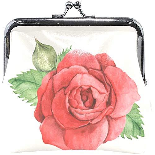 Portefeuille kleur rode roos bloem groene bladeren muntgeldbuidel tas lederen wisselhouder kaart clutch handtas