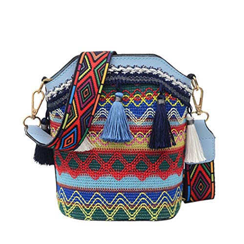 LPOQW - Bolso de hombro con borla, diseño étnico, para maquillaje, monedero, tarjetas de teléfono, accesorios de regalo, color azul claro