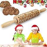 VZATT Rouleau à Pâtisserie de Noël, Noël Rouleau à Pâtisserie en Relief, Christmas Cerfs Arbres Patterns Bois Naturel Solide Roulement Gaufrage à Motifs Rolling Pins pour DIY