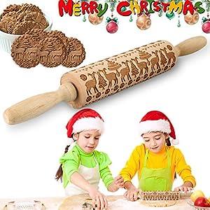 VZATT Navidad Rodillo Amasar, Rolling Pin Wood, Perno de Balanceo, Rodillo de Cocina con Dibujos, Rodillo Amasar de Madera, Rodillo de Madera para Galletas, Grabado en Relieve