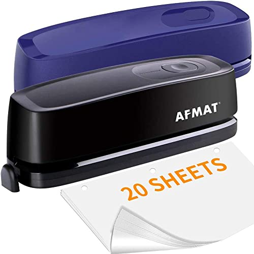 discount AFMAT Electric wholesale Three Hole Punch Heavy Duty, 20-Sheet Punch sale Capacity, 2 Pack, Black and Blue online