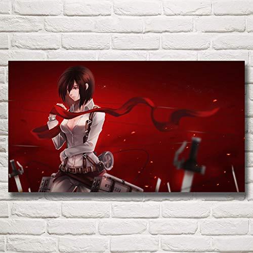hahastore HD-Druck modulare Bild Leinwand 1 Panel Malerei Animation Attack Titan Poster Home Wohnzimmer Dekoration Wandkunst ohne Rahmen (Rahmenlos) -50x70cm