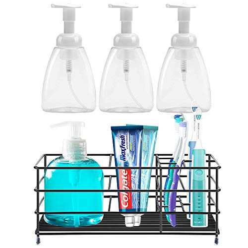 ULG Foaming Soap Dispensers Pump Bottles 10oz 3Pack and ULG Stainless Steel Toothbrush Holder for BathroomULG Foaming Soap Dispensers Pump Bottles 10oz 3Pack and ULG Toothbrush Holder for Bathroom
