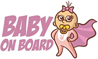 EROSPA® Auto-Aufkleber KFZ - Baby On Board - Car-Sticker (Rosa)