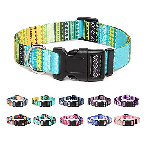 Suredoo Collar Perro, Ajustable y Resistente con Patrones de Moda, Collar Nylon Cómodos para Perros Pequeños Medianos Grandes, Cachorros (S, Amarillo)