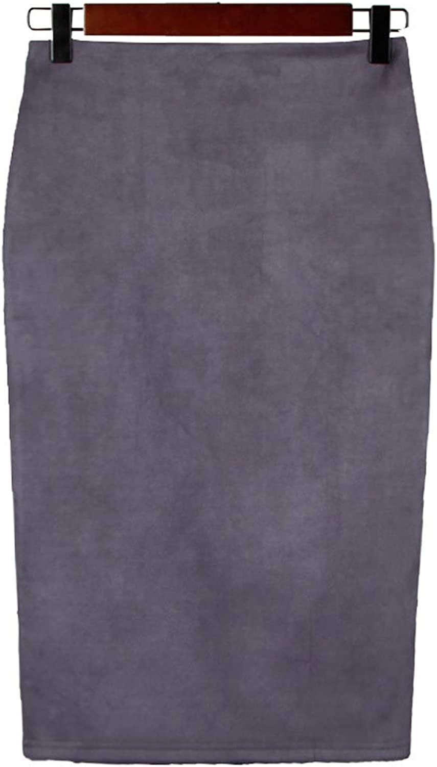 Chartou Womens Lightweight ElasticWaist Faux Suede Leather Side Split Hip Packaged Skirt