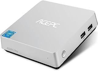 "Mini PC, ACEPC T11 Mini Fanless Desktop Computer Windows 10 Built-in Intel Atom x5-Z8350 Processor 4GB Ram 32GB eMMC, Supports Dual wifi, Dual Display HDMI and VAG,4k,SATA for 2.5"" Inch Hard Disk"