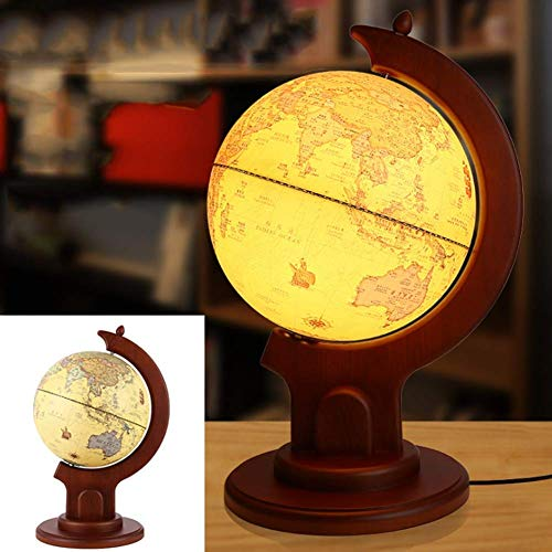 LHQ-HQ Explore el mundo Globo mundial de 9 pulgadas y mapa iluminado juguete educativo de aprendizaje geográfico, base de madera maciza, modelo JSL163168 World Globe