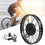 Kit de motor de bicicleta eléctrica, aleación de aluminio 48V 1500W 26x4.0 pulgadas Kit de rueda de motor de motor de conversión de bicicleta eléctrica con medidor LCD(#2)