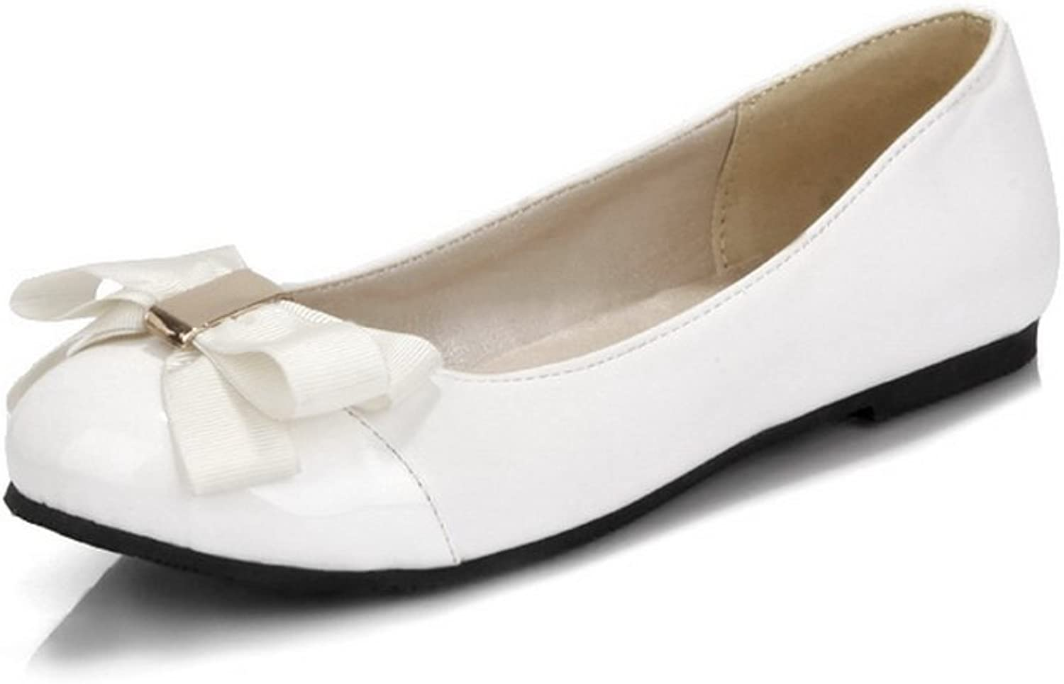 WeiPoot Women's Round Closed Toe Low-Heels Soft Material Solid Pumps-shoes, White, 39