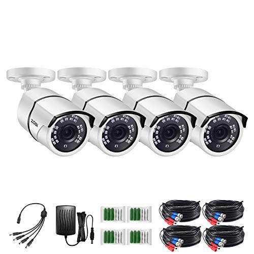 ZOSI 4 Pack 2MP 1080p HD-TVI Home Security Camera Outdoor Indoor 1920TVL,36PCS LEDs,120ft Night Vision, 105°View Angle, Weatherproof Surveillance CCTV Bullet Camera