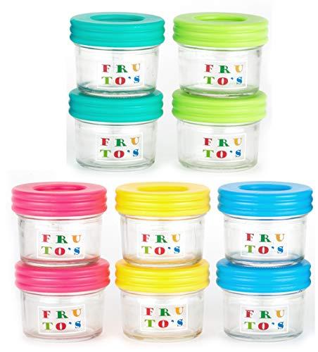 Premium VIALS Vidrio bebé contenedores para Alimentos - el Juego Contiene 10 pequeños Reutilizables 4 oz los frascos con Tapas herméticas - de Forma Segura congelar Sus bebés en casa Alimentos
