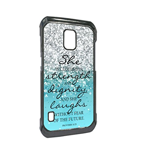Blue Sparkles Glitter Samsung Galaxy S5 Active Case Bible Verse Proverbs 31:25 Design for Galaxy S5 Active Case,She is clothed in strength and dignity and she laughs without fear(Black Hard Plastic)