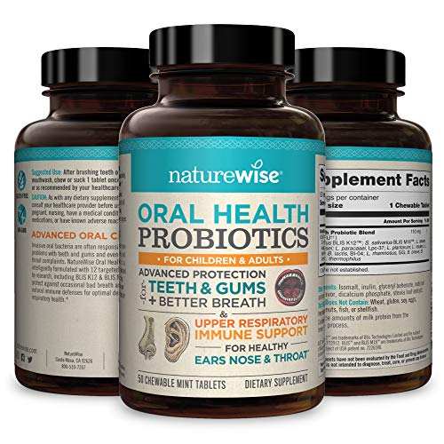 NatureWise Oral Health Chewable Probiotics: Clinically Proven Protection for Teeth & Gums with Advanced Ear, Sinus & Throat Immune Support for Kids & Adults (50 Chewable Capsules)