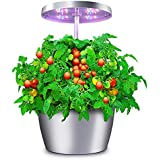 Hydroponic Garden, Compact Herb Garden Planter with Sleek Design, Hydro Growing System with Automatic Timer, Indoor Gardening Kits, Good Gift for Family, Silver, 4 Pots