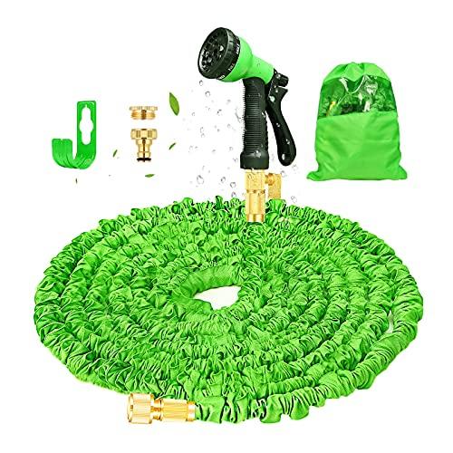 Tuyau d'arrosage Extensible 15M/50FT Tuyau Arrosage de Jardin Tuyau Flexible Rétractable avec Pistolet à 8 Fonctions pour Jardinage,Laver la Voiture,Arroser,Baigner Animal etc(Vert)