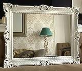 Espejo de pared blanco barroco 90 x 70 cm Prunk espejo de baño espejo de pasillo espejo de peluquería espejo antiguo espejo 3057
