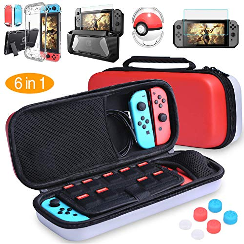 HEYSTOP Nintendo Switch Carrying Case Clear Case Dockable Pokeball Plus Case, TPU Protective Case, Tempered Glass Screen Protector Thumb Grips Caps 6 in 1 Accessories Kit for Nintendo Switch