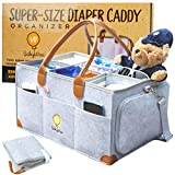 VBBabyWise Baby Diaper Caddy Organizer - Extra-Large 17x12x9 inch Portable Nursery Essential Storage Bin for Home or Traveling or Newborn Baby Shower Gift with Diaper Changing Pad bonus