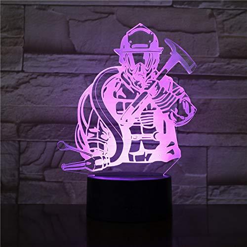3D Illusion Nuit Lumière Led Veilleuse Lampe,Style Pompier Optiques Illusions Lampe 7 Couleur Tactile Lampe Art Décor Pour Chambre Chevet Table Enfants Cadeau Noël Fête Anniversaire