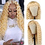 613 Blonde Curly Lace Front Wig Human Hair Pre Plucked Long 24' T Part Deep Wave Lace Frontal Wigs for Black Women Full Ends 150% Density Wavy Lace Wig
