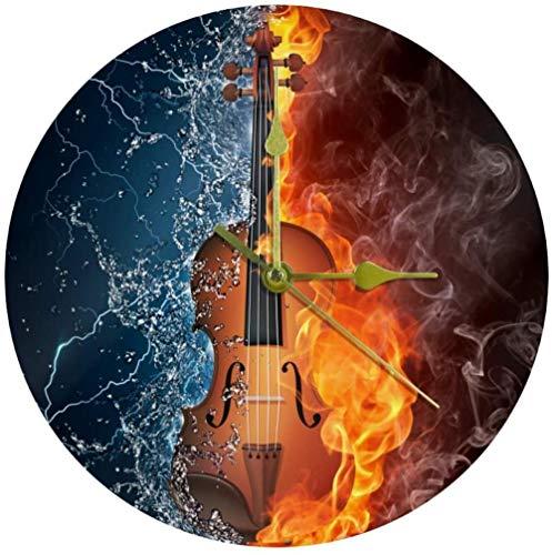 LKLFC Große Wanduhr Küchenuhr Wohnzimmer Schlafzimmer Büro Badezimmer Wanduhr Kinderuhr Silent Quartz Non-Ticking Batteriebetriebene Hängende Uhr 25cm - Wasser Feuer Gitarre