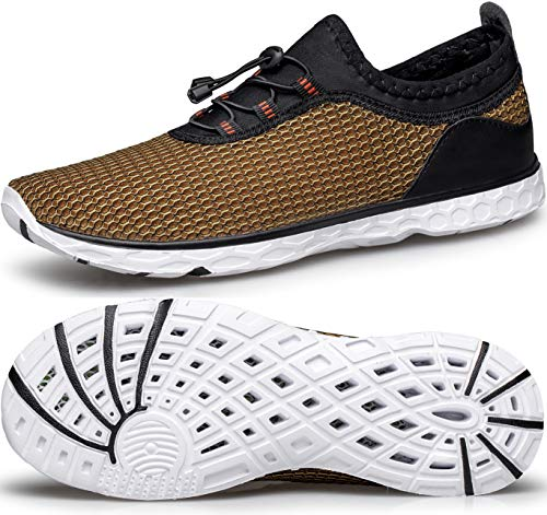 MURDESOT Womens Water Shoes Quick Dry Aqua Sneakers Sports for Kayak Boat Pool Beach Swim Diving Gold River Athletic US Size 9.5