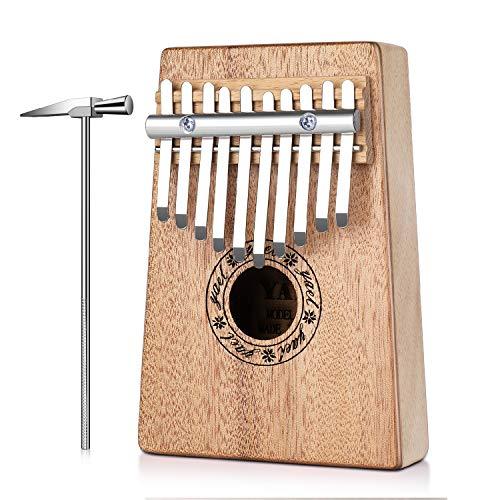 Flexzion Kalimba 10 Tasten Daumenklavier, Mbira 10 Ton Fingerklavier, tragbares afrikanisches Musikinstrument mit Musik-Scorebook/Lernheft, Tune-Hammer, Aufbewahrungstasche (10 Schlüssel)