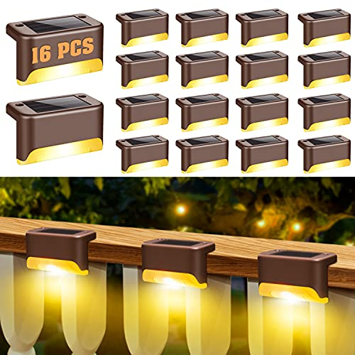 16 Pack Solar Deck Lights, Solar Lights Outdoor, Fence Post Solar Lights, Solar Step Lights Outdoor Waterproof for Outdoor Pathway, Yard, Fence, Stairs, Step and Fences (Warm White)
