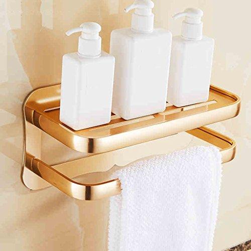 European Style Space Racks de salle de bain en aluminium Porte-serviettes double couche/salle de bains (Couleur : Or)