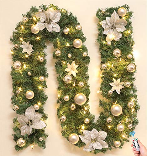Surwin Christmas Wreath with LED Lights, 2.7m Decoration Illuminated Light Garlands for Fireplaces Stairs Hanger Door Wall Windows Home Flower Ball Xmas Tree Festive Decor (warm white,silver)