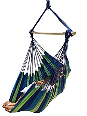Large Brazilian Hammock Chair by Hammock Sky - Quality Cotton Weave for Superior Comfort & Durability - Extra Long Bed - Hanging Chair for Yard, Bedroom, Porch, Indoor / Outdoor