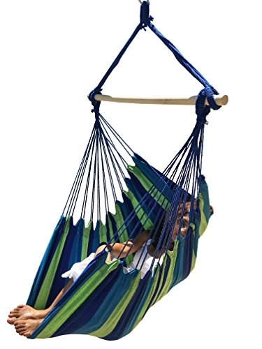 Hammock Sky Large Brazilian Hammock Chair by Quality Cotton Weave for Superior Comfort & Durability - Extra Long Bed - Hanging Chair for Yard, Bedroom, Porch, Indoor/Outdoor (Blue & Green)