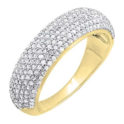 DazzlingRock Collection Anillo de matrimonio de oro certificado de 0,90 quilates (CTW) de diamantes redondos de 18 quilates 9