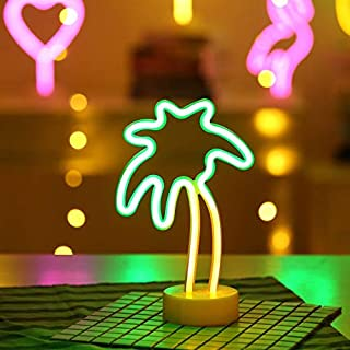 Battife Neon Signs LED Light with Holder Base Table Night Light for Bedroom,Home Party and Holiday Decorations - Palm Tree,Yellow and Green