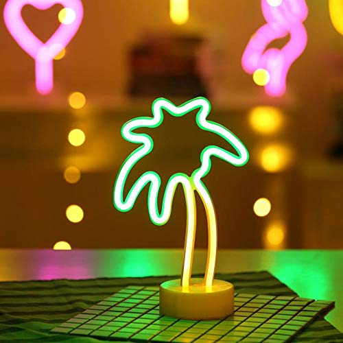 Battife Neon Signs LED Light with Holder Base USB or Battery Operated Table Night Lamp for Bedroom,Home Party Decorations Gifts - Palm Tree,Yellow and Green