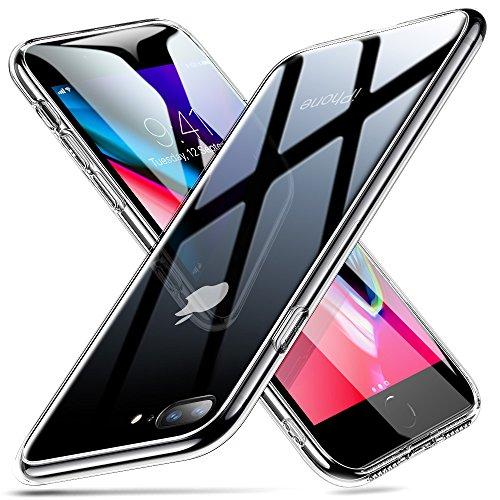 ESR Funda Vidrio Compatible con iPhone 8 Plus/7 Plus, Antiamarillo,Imita la Parte Posterior del Vidrio + Borde de Silicona Suave del iPhone 8 Plus/7 Plus-Transparente