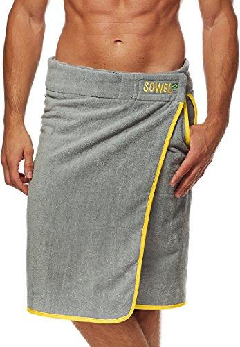 Sowel® Saunakilt Herren, Saunahandtuch mit Klettverschluss, Saunatuch aus 100% Baumwolle, 60 x 140 cm, Grau/Gelb
