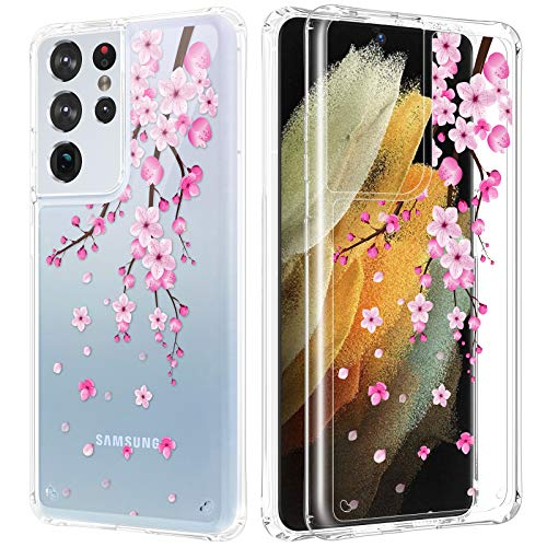 Caka Clear Case for Galaxy S21 Ultra Case Cherry Flower for Women Girls Slim Transparent Protective Clear Phone Case for Samsung Galaxy S21 Ultra 5G 6.8 inch (Cherry Blossom)