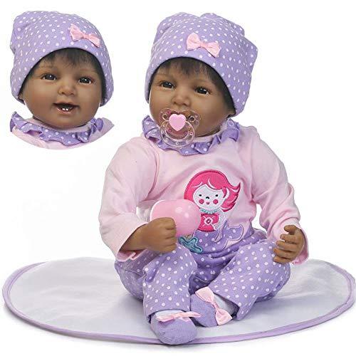 Pinky 22 inch Black Indian Soft Silicone Reborn Baby Girl Dolls Realistic Look Newborn Doll Toddler Birthday Xmas Gift